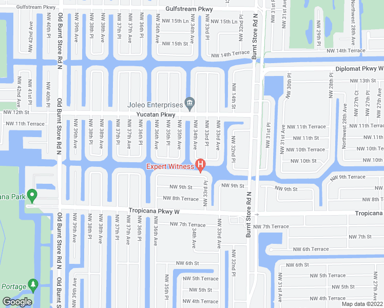 map of restaurants, bars, coffee shops, grocery stores, and more near 1006 Northwest 34th Avenue in Cape Coral