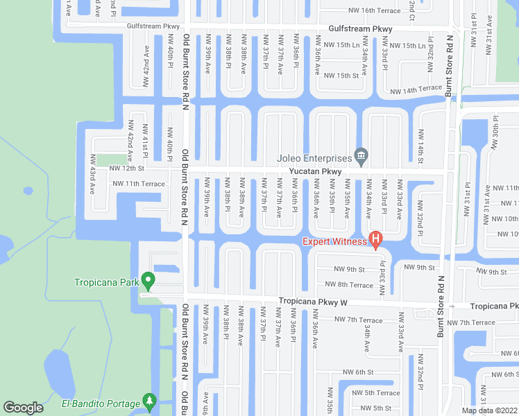 map of restaurants, bars, coffee shops, grocery stores, and more near 1020 Northwest 37th Place in Cape Coral