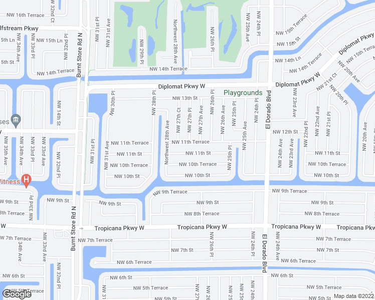 map of restaurants, bars, coffee shops, grocery stores, and more near 2717 Northwest 11th Street in Cape Coral