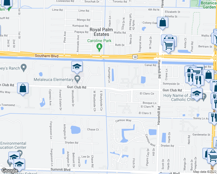map of restaurants, bars, coffee shops, grocery stores, and more near 213 Plumage Lane in West Palm Beach