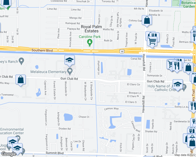 map of restaurants, bars, coffee shops, grocery stores, and more near 5555 Gun Club Road in West Palm Beach
