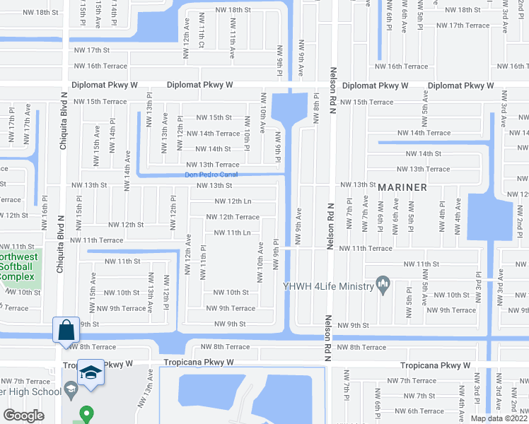map of restaurants, bars, coffee shops, grocery stores, and more near 923 Northwest 12th Terrace in Cape Coral