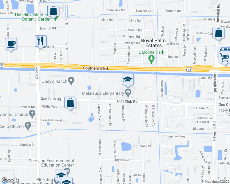 map of restaurants, bars, coffee shops, grocery stores, and more near 167 Highland Park Drive in West Palm Beach