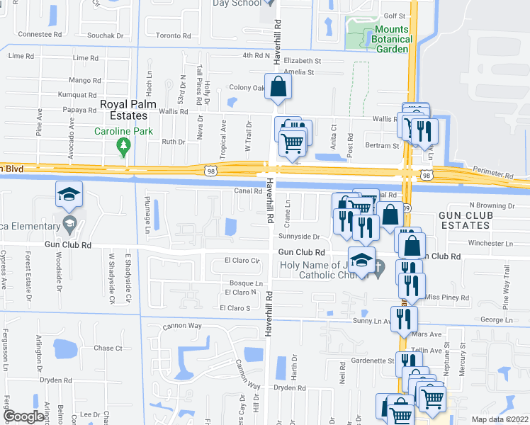 map of restaurants, bars, coffee shops, grocery stores, and more near 5033-5099 Ben Eden Lane in West Palm Beach