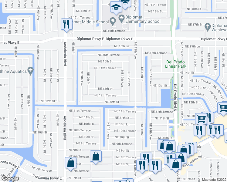 map of restaurants, bars, coffee shops, grocery stores, and more near 1110 Northeast 13th Street in Cape Coral