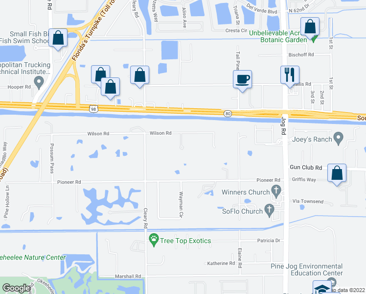 map of restaurants, bars, coffee shops, grocery stores, and more near 6758 Wilson Road in West Palm Beach