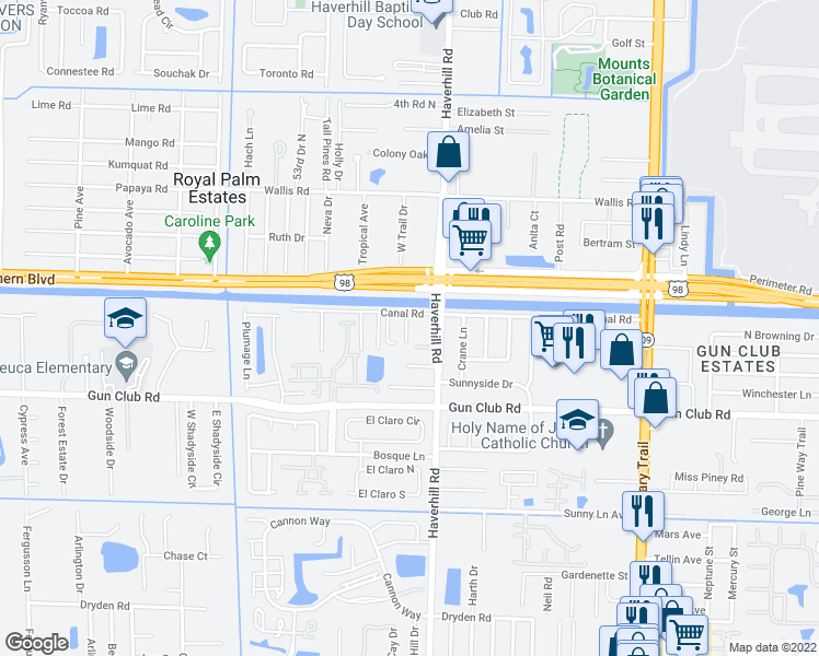 map of restaurants, bars, coffee shops, grocery stores, and more near 1800 Lynwood Court in West Palm Beach