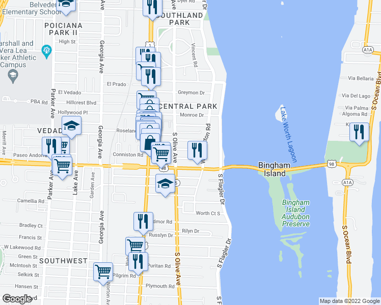 map of restaurants, bars, coffee shops, grocery stores, and more near 220 Walton Boulevard in West Palm Beach