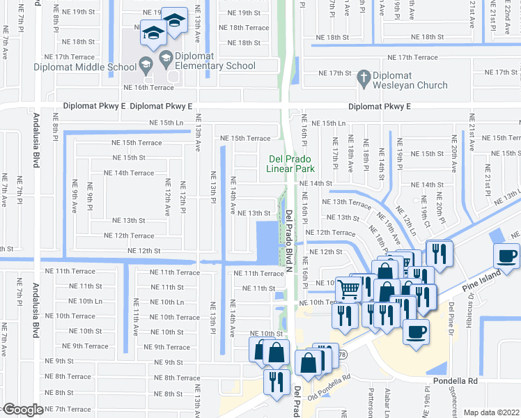 map of restaurants, bars, coffee shops, grocery stores, and more near 1501 Northeast 13th Street in Cape Coral