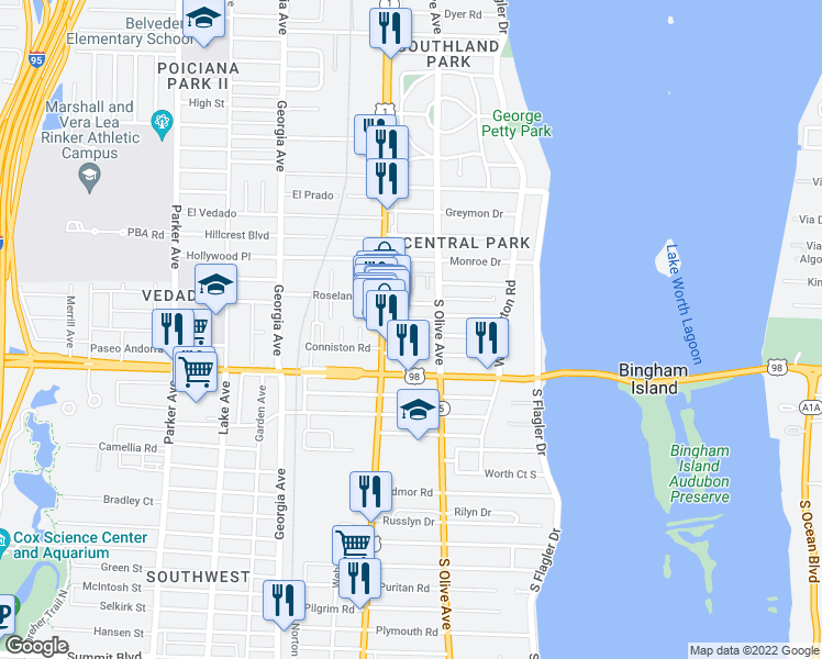 map of restaurants, bars, coffee shops, grocery stores, and more near 331 Walton Boulevard in West Palm Beach