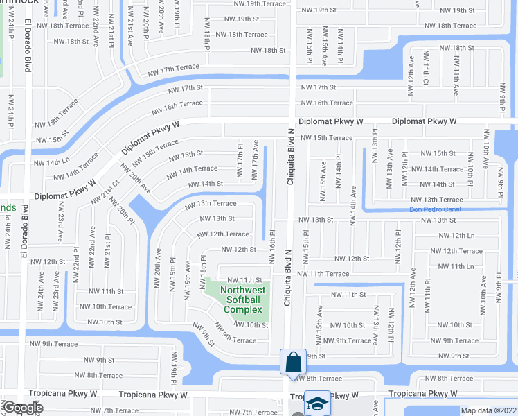 map of restaurants, bars, coffee shops, grocery stores, and more near 1311 Northwest 17th Avenue in Cape Coral