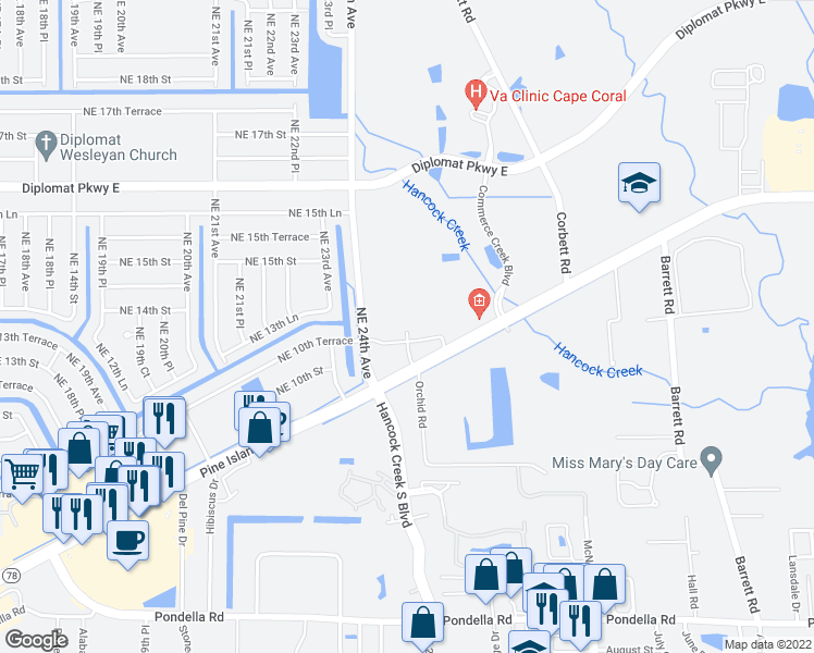 map of restaurants, bars, coffee shops, grocery stores, and more near 2505 Liberty Park Dr in Cape Coral