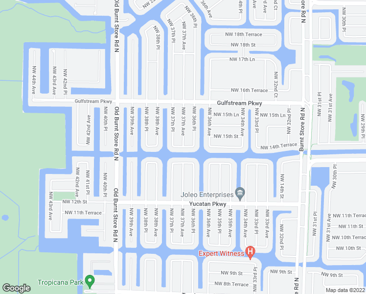 map of restaurants, bars, coffee shops, grocery stores, and more near 3698 Northwest 14th Terrace in Cape Coral