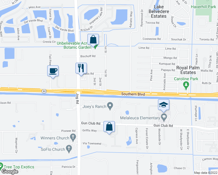 map of restaurants, bars, coffee shops, grocery stores, and more near 6221 Southern Boulevard in West Palm Beach