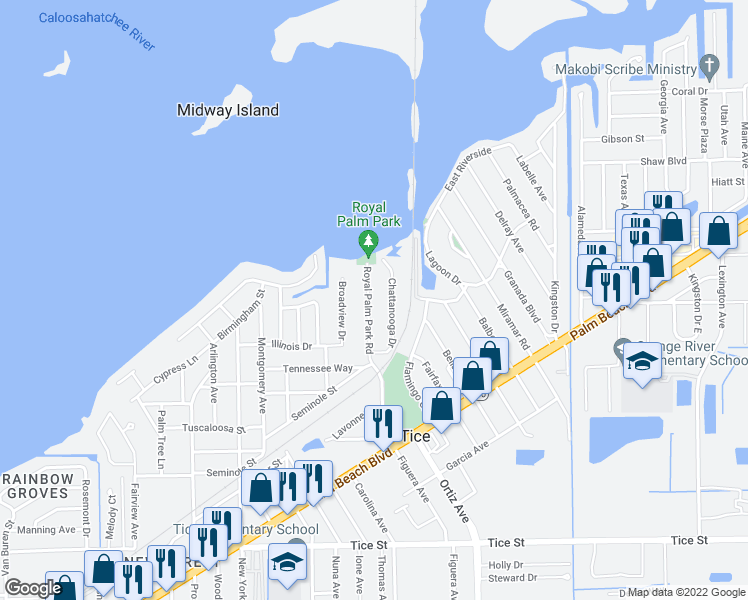 map of restaurants, bars, coffee shops, grocery stores, and more near 321 Royal Palm Park Road in Fort Myers