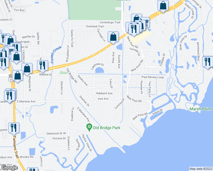 map of restaurants, bars, coffee shops, grocery stores, and more near 291 Lowell Avenue in North Fort Myers
