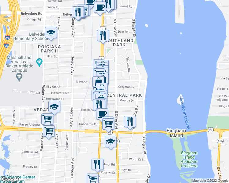map of restaurants, bars, coffee shops, grocery stores, and more near 301 Edgewood Drive in West Palm Beach