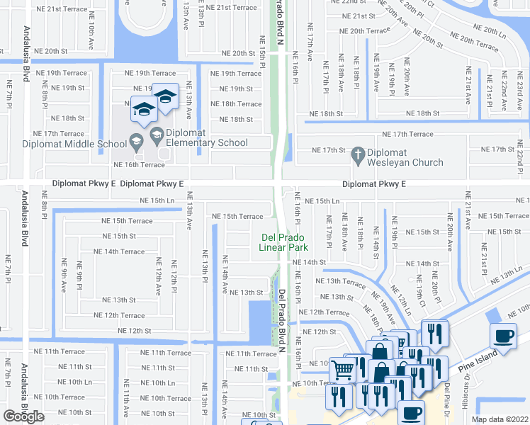 map of restaurants, bars, coffee shops, grocery stores, and more near 1513 Northeast 15th Terrace in Cape Coral