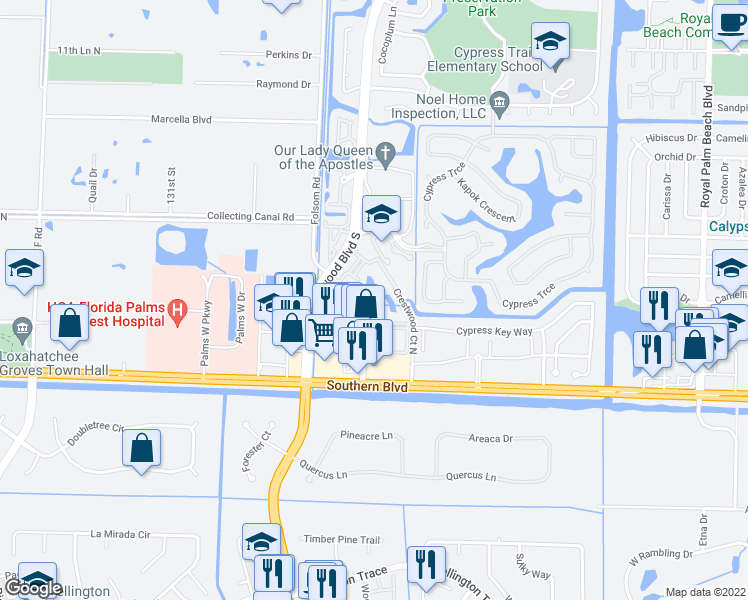 map of restaurants, bars, coffee shops, grocery stores, and more near 600 Crestwood Court North in Royal Palm Beach