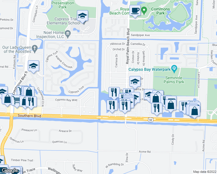 map of restaurants, bars, coffee shops, grocery stores, and more near 739 Orchid Drive in Royal Palm Beach