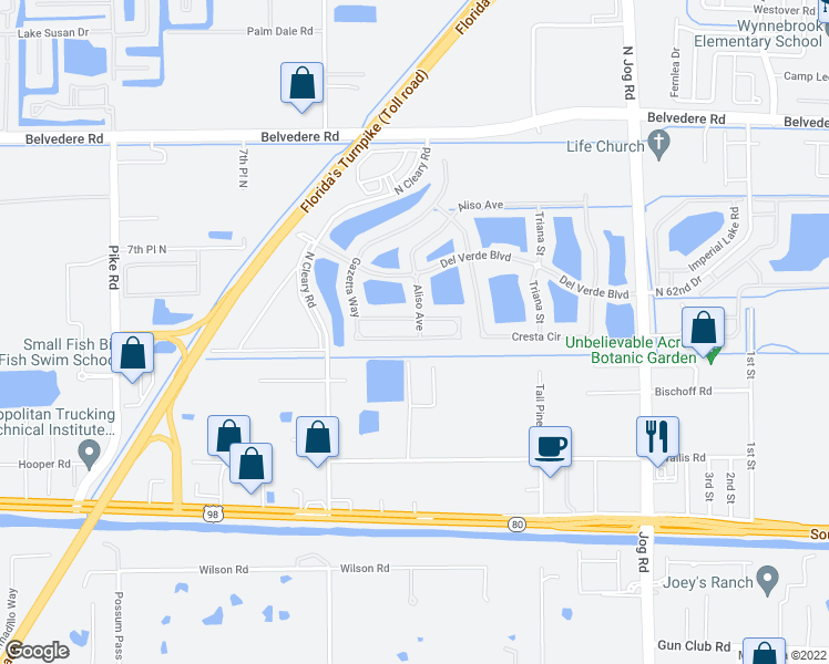 map of restaurants, bars, coffee shops, grocery stores, and more near 454 Gazetta Way in West Palm Beach