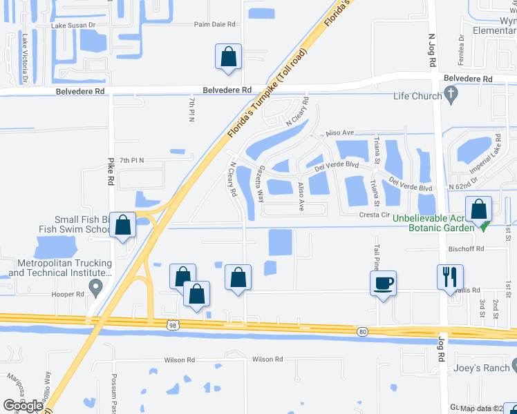 map of restaurants, bars, coffee shops, grocery stores, and more near 583 Gazetta Way in West Palm Beach