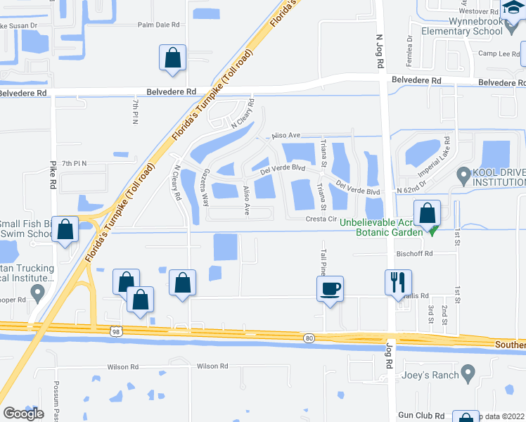 map of restaurants, bars, coffee shops, grocery stores, and more near 320 Gazetta Way in West Palm Beach