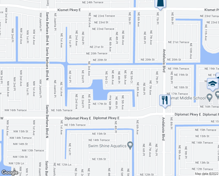 map of restaurants, bars, coffee shops, grocery stores, and more near 344 Northeast 18th Street in Cape Coral
