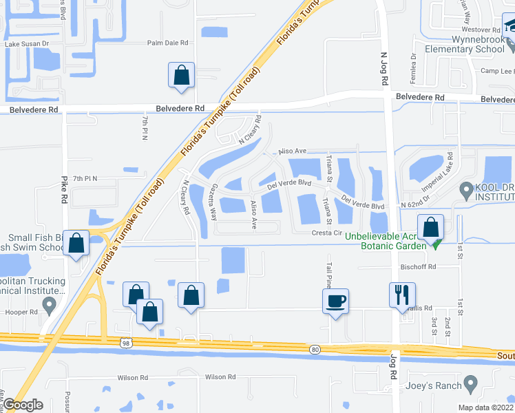 map of restaurants, bars, coffee shops, grocery stores, and more near 7074 Aliso Avenue in West Palm Beach