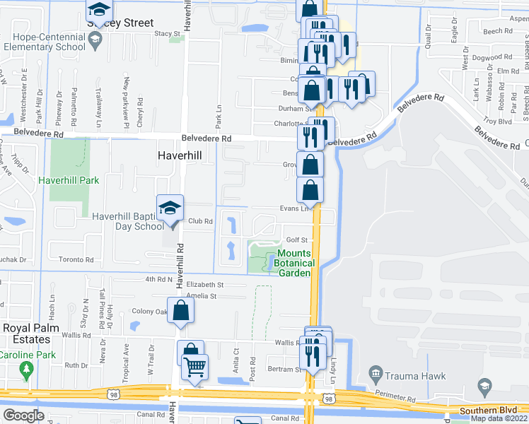 map of restaurants, bars, coffee shops, grocery stores, and more near 4667 Orleans Court in West Palm Beach