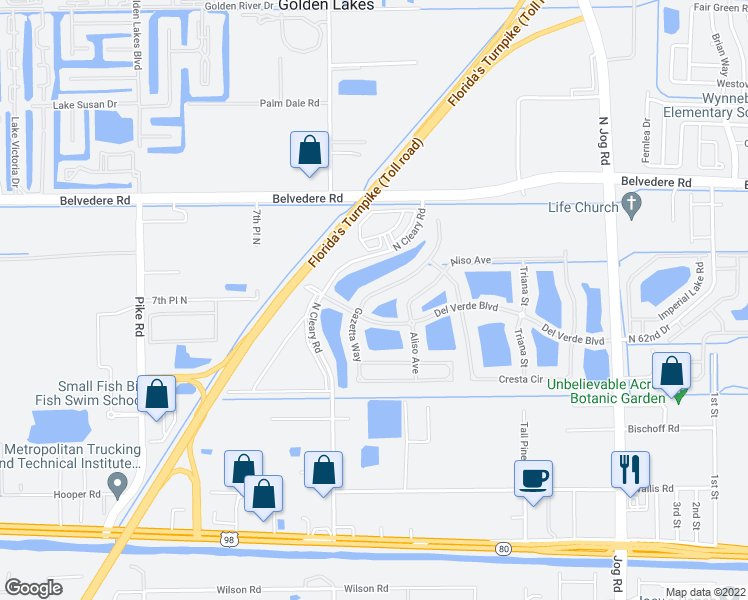 map of restaurants, bars, coffee shops, grocery stores, and more near 720 Gazetta Way in West Palm Beach