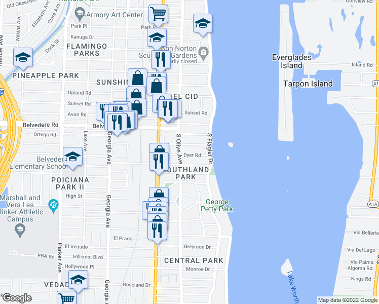 map of restaurants, bars, coffee shops, grocery stores, and more near 225 Dyer Road in West Palm Beach