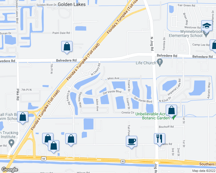 map of restaurants, bars, coffee shops, grocery stores, and more near Del Verde Boulevard in West Palm Beach