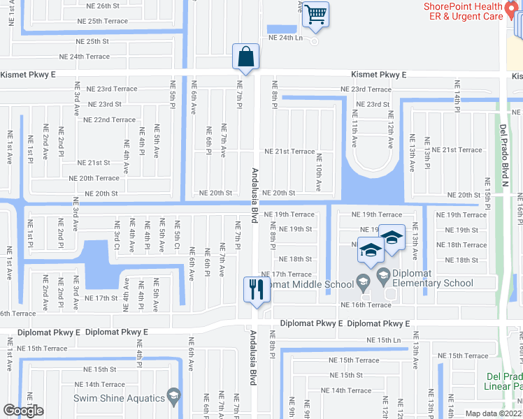 map of restaurants, bars, coffee shops, grocery stores, and more near 805 Northeast 19th Terrace in Cape Coral