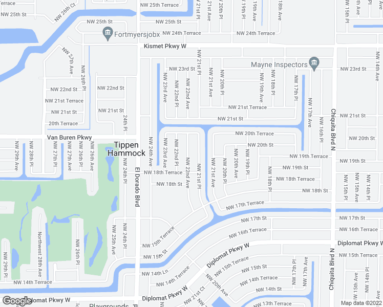 map of restaurants, bars, coffee shops, grocery stores, and more near 1903 Northwest 22nd Avenue in Cape Coral