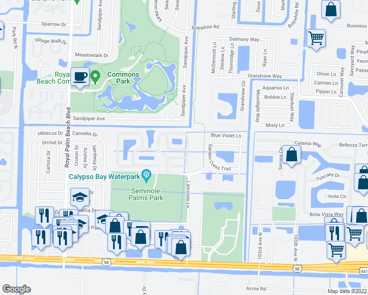 map of restaurants, bars, coffee shops, grocery stores, and more near 464 Rainbow Springs Terrace in Royal Palm Beach