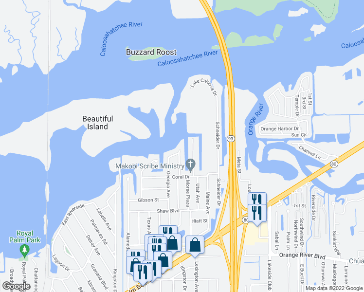 map of restaurants, bars, coffee shops, grocery stores, and more near 5019 East Riverside Drive in Fort Myers