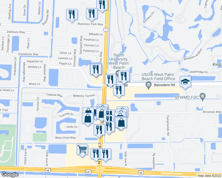 map of restaurants, bars, coffee shops, grocery stores, and more near 9970 Belvedere Rd in Royal Palm Beach