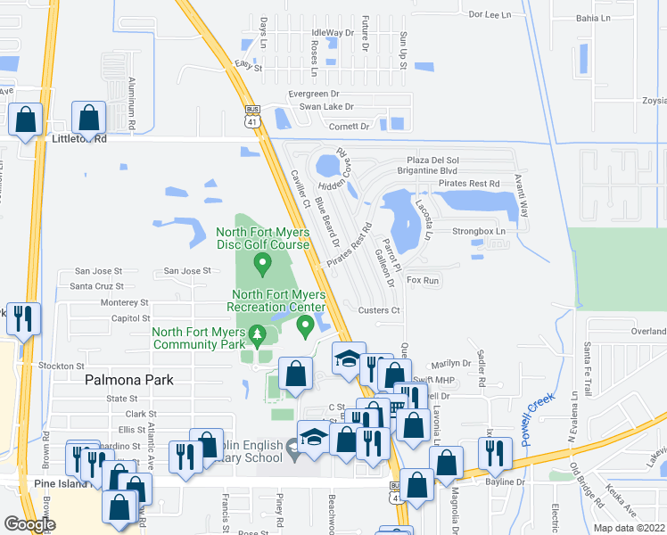 map of restaurants, bars, coffee shops, grocery stores, and more near Caviller Drive in North Fort Myers