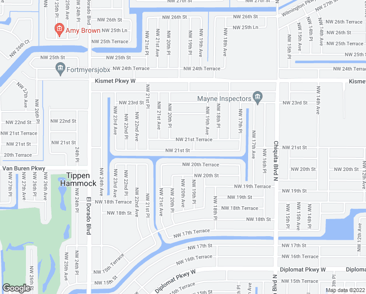map of restaurants, bars, coffee shops, grocery stores, and more near 1931 Northwest 21st Street in Cape Coral