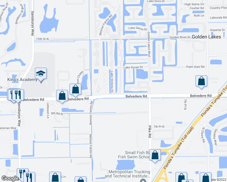 map of restaurants, bars, coffee shops, grocery stores, and more near 936 Lake Victoria Drive in West Palm Beach