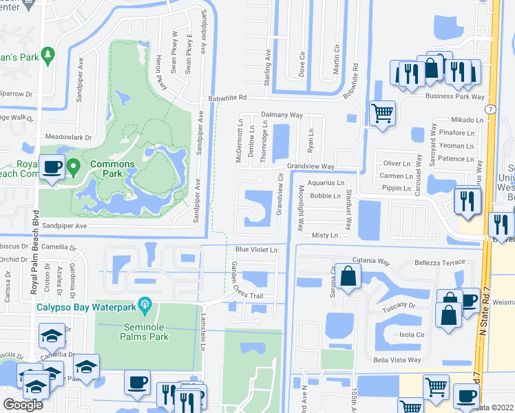 map of restaurants, bars, coffee shops, grocery stores, and more near 10897 Grandview Court in Royal Palm Beach