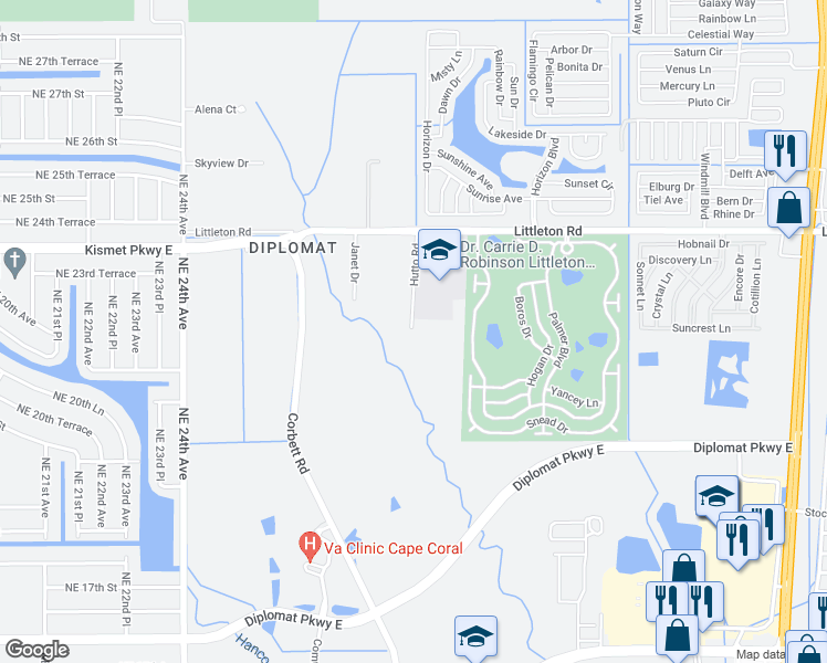 map of restaurants, bars, coffee shops, grocery stores, and more near 711 Hutto Road in North Fort Myers