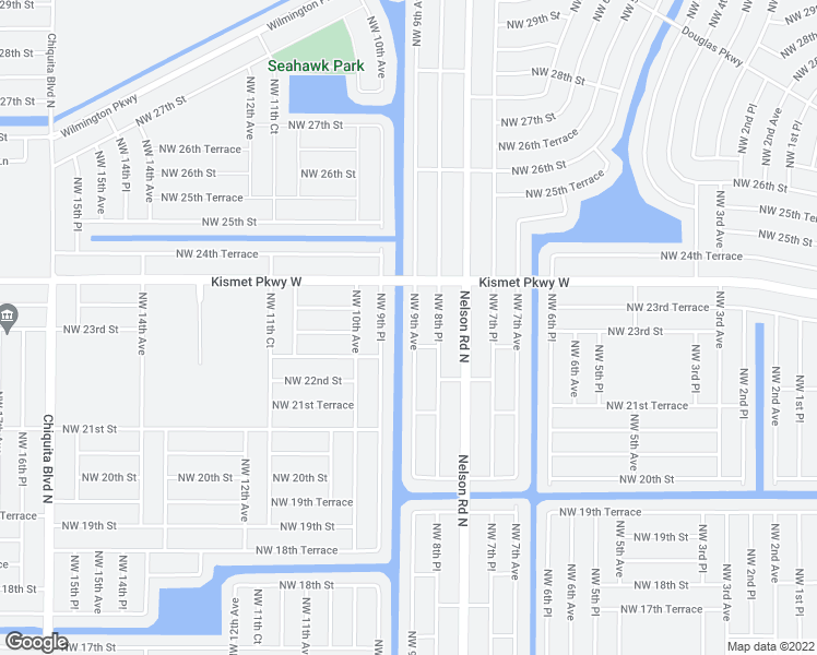 map of restaurants, bars, coffee shops, grocery stores, and more near 2304 Northwest 9th Avenue in Cape Coral