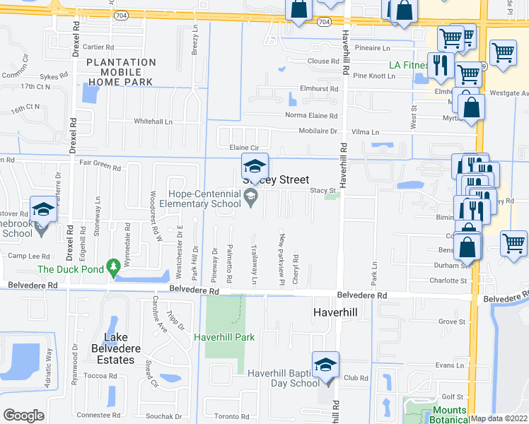 map of restaurants, bars, coffee shops, grocery stores, and more near 5292 Stacy Street in West Palm Beach