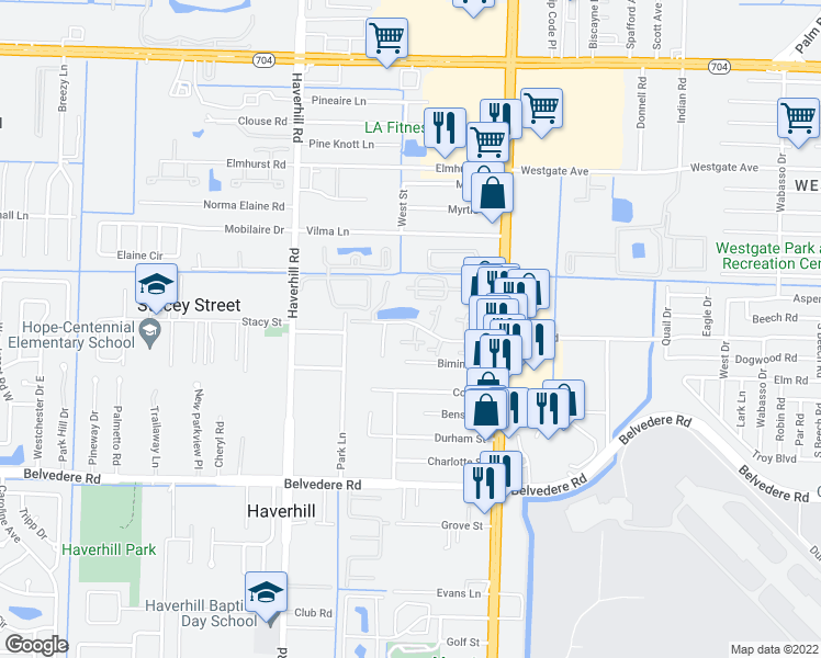 map of restaurants, bars, coffee shops, grocery stores, and more near 4742 Cherry Road in West Palm Beach