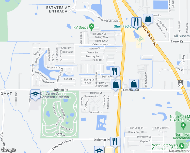 map of restaurants, bars, coffee shops, grocery stores, and more near 43 2nd Street East in North Fort Myers