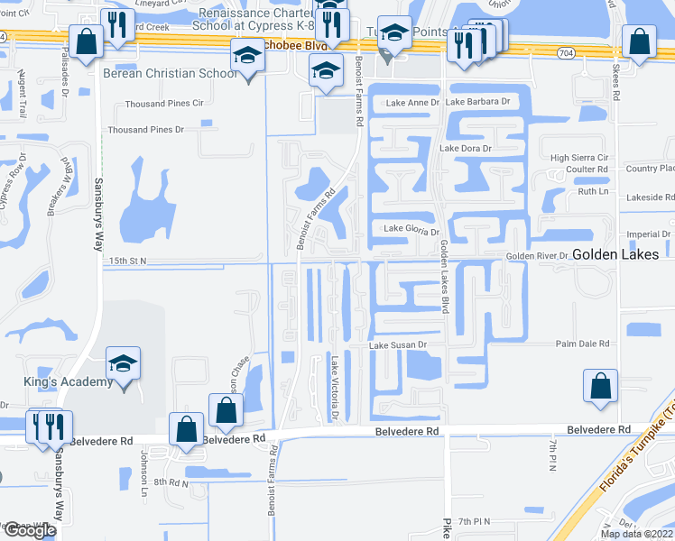 map of restaurants, bars, coffee shops, grocery stores, and more near 1200 Lake Victoria Drive in West Palm Beach