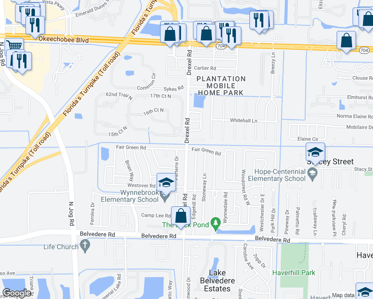 map of restaurants, bars, coffee shops, grocery stores, and more near Drexel Road in West Palm Beach