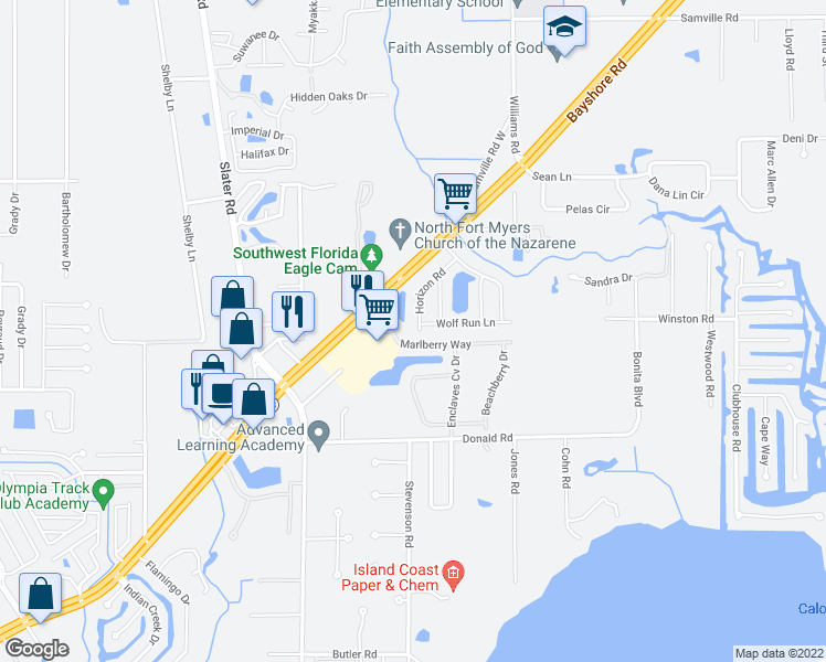 map of restaurants, bars, coffee shops, grocery stores, and more near 16251 Horizon Road in North Fort Myers